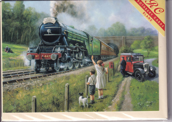 Watching The Flying Scotsman Train Greetings Card - Kevin Walsh