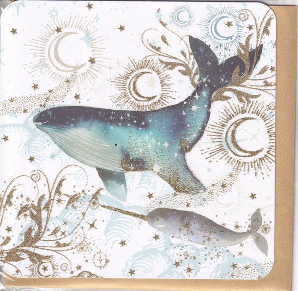 Whale Glitter Greetings Card - Nigel Quiney