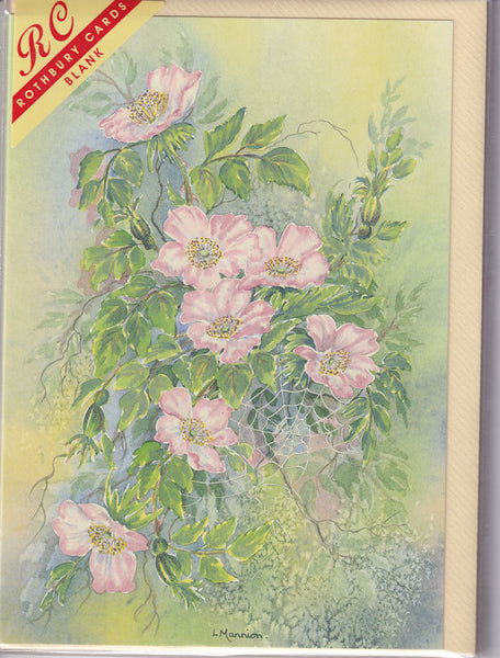 Wild Roses Flowers Greetings Card - Linda Mannion