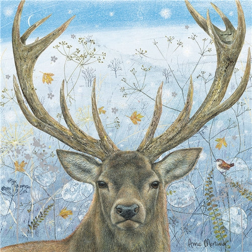 Winter Stag Greetings Card - Anne Mortimer