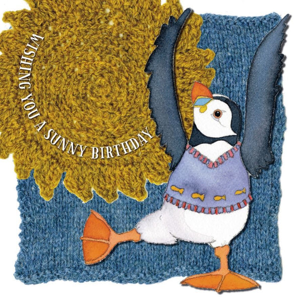 Wishing You A Sunny Birthday Woolly Puffin Birthday Card - Emma Ball