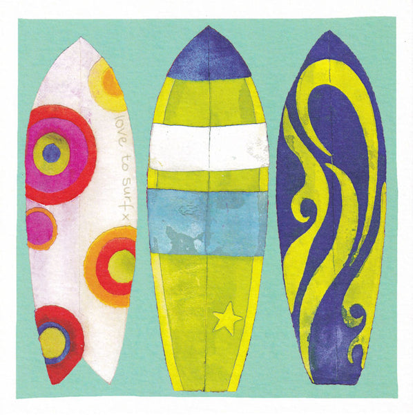 Surfboards Greetings Card - Susan Steggall