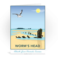 Worm's Head Rhosilli Gower Peninsula Swansea Wales Greetings Card - Tabitha Mary
