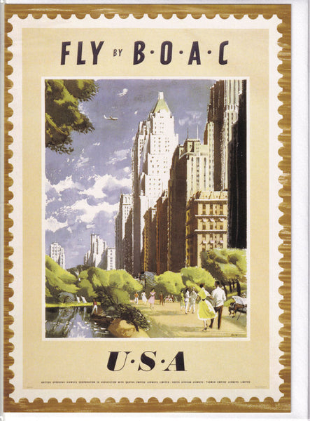 Fly By BOAC To The USA Greetings Card