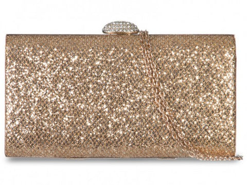 Gold Glitter Box Clutch