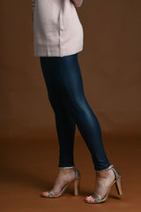 Navy Faux Leather Leggings