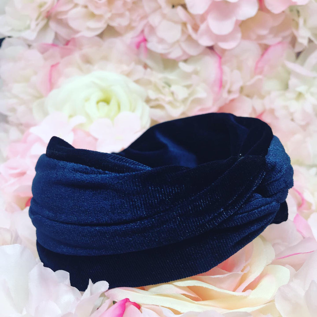 Rania Navy Velvet Hairband