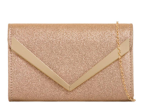 Gold Metallic Envelope Clutch