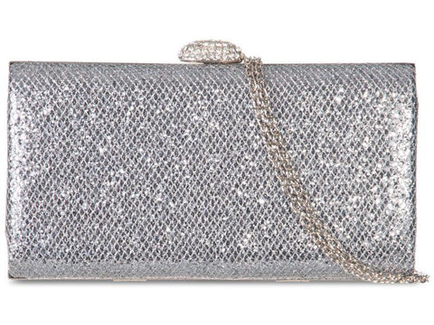 Silver Sparkle Box Clutch