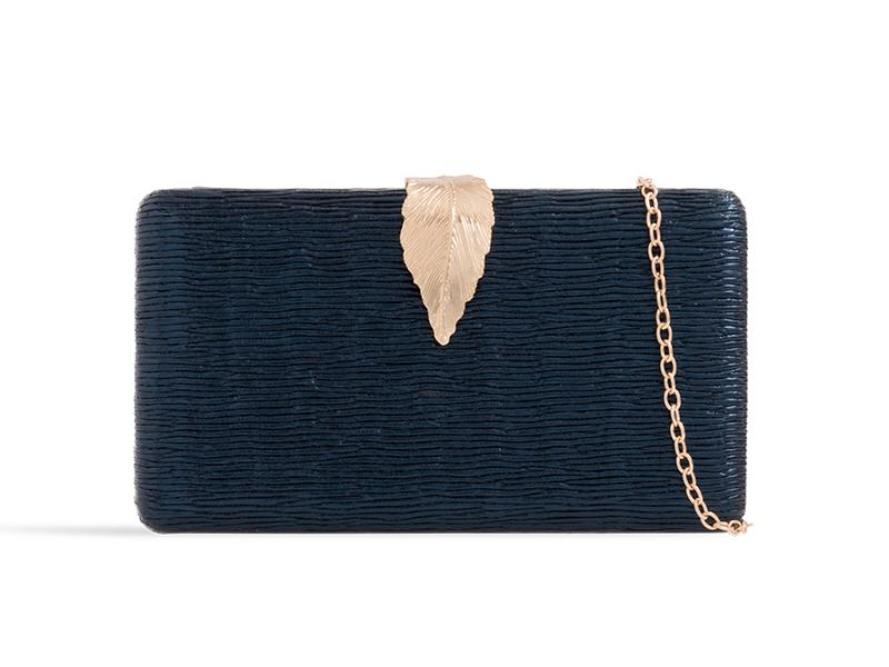 Navy Metallic Box Clutch
