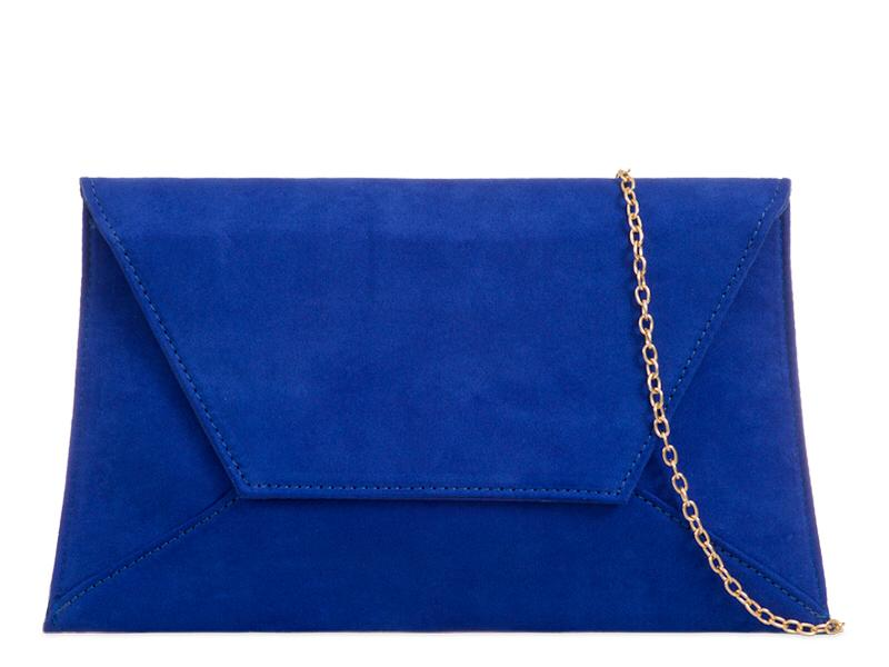 Cobalt Suede Effect Clutch