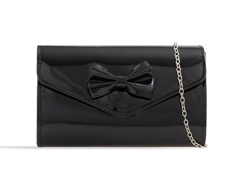 Black Patent Bow Clutch