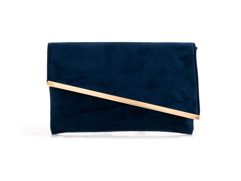 Navy Suede Effect Clutch