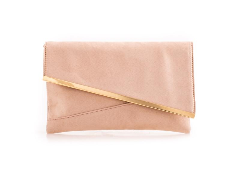 Nude Suede Effect Clutch