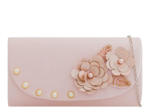 Blush Satin Flower Clutch