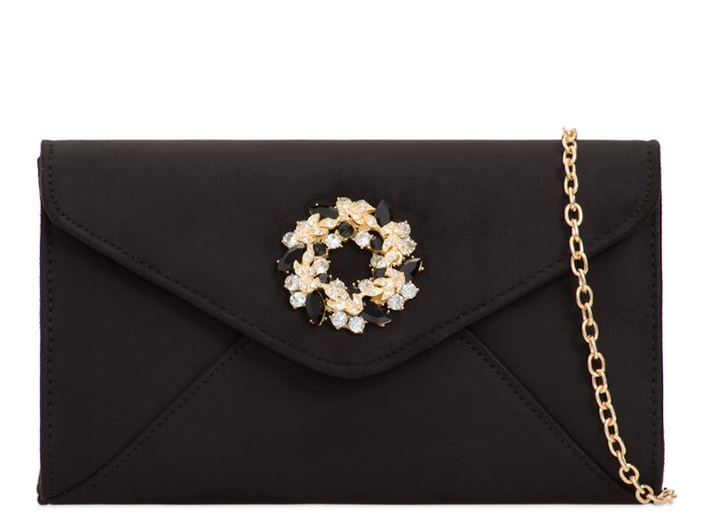 Black Suede Brooch Clutch