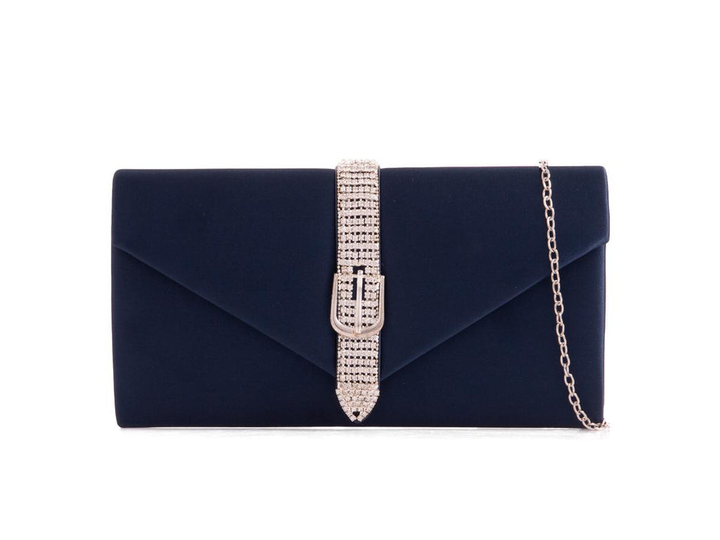 Navy Satin Diamante Clutch