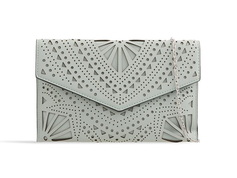 Grey Faux Leather Clutch