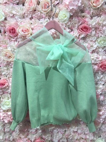 Green Organza Bow Jumper