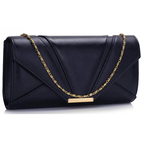 Navy Flapover Clutch Purse