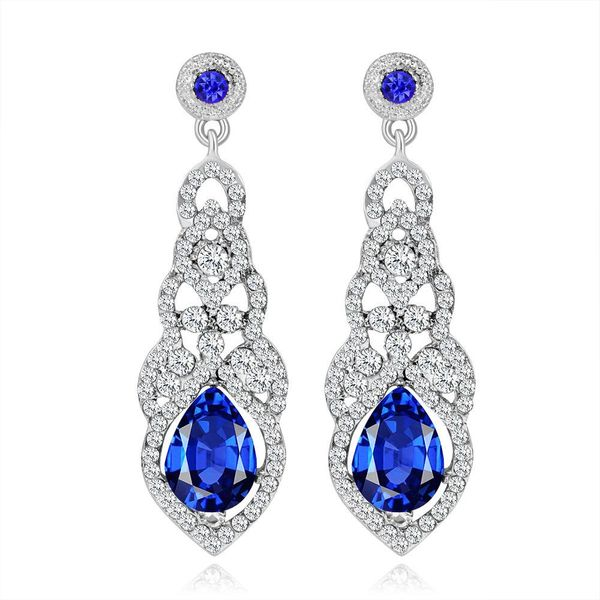 Blue Sparkle Drop Earrings