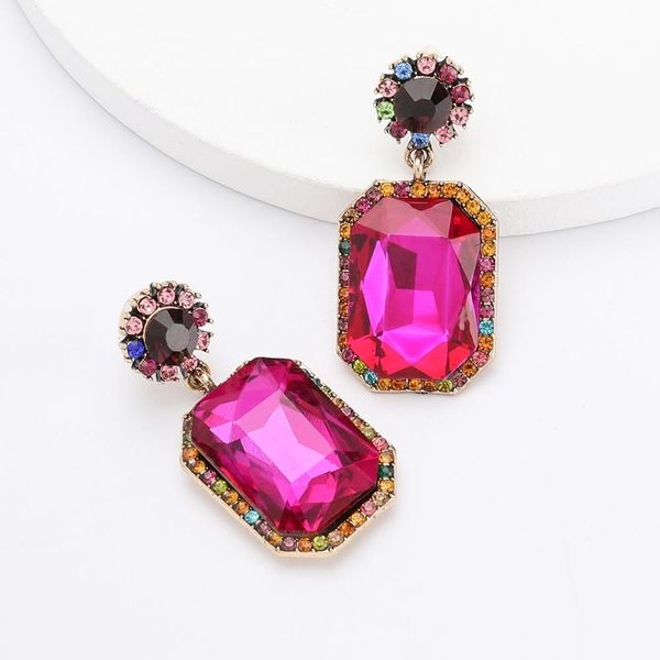 Pink And Multi Stone Earring