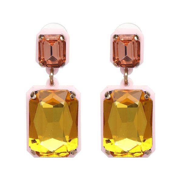 Pink Yellow Drop Earrings