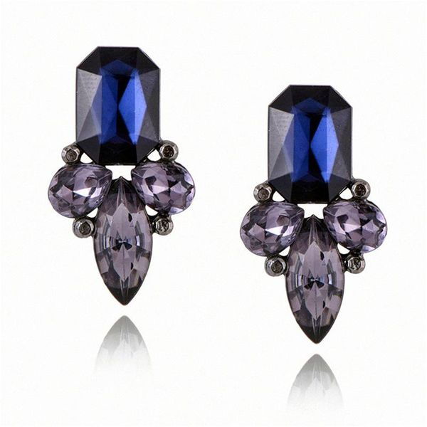 Navy And Charcoal Crystal Earrings