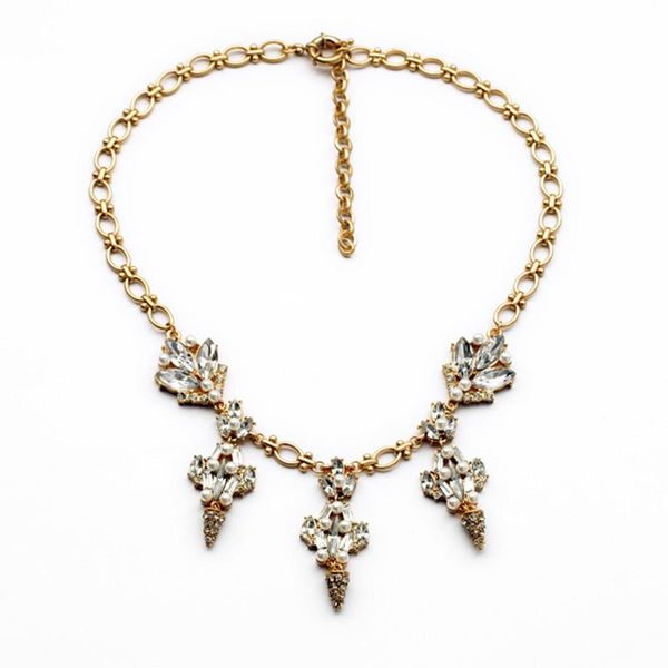 Gina Gold Crystal Drop Necklace