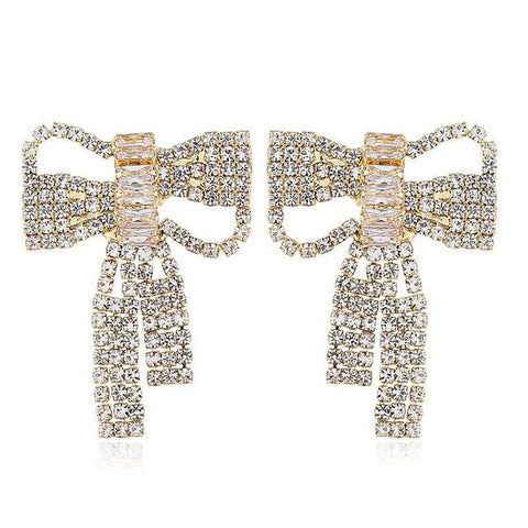 Gold Bow Sparkle Earrings