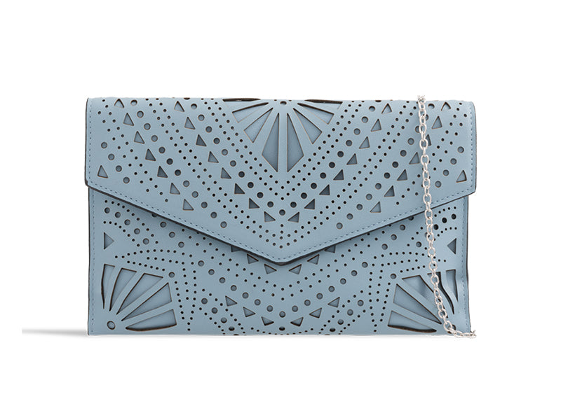 Slate Faux Leather Clutch