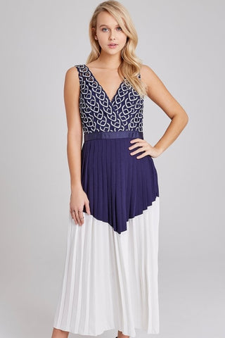 Connie Navy Geo Lace Dress