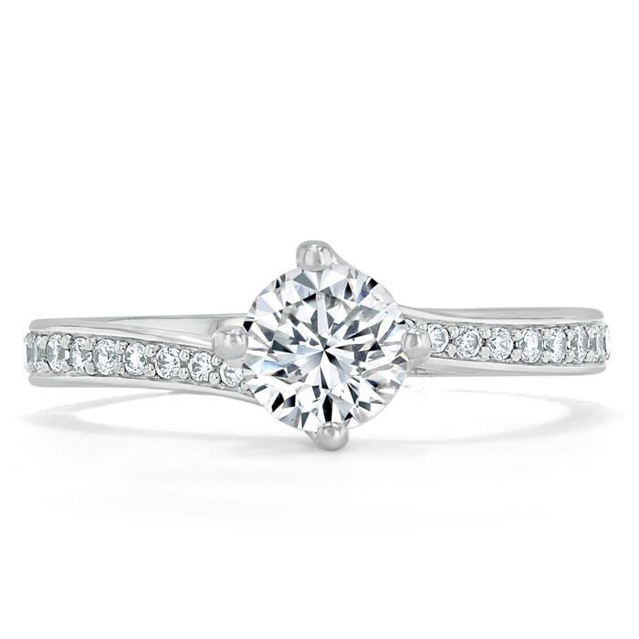 Round Cut Moissanite Twist Engagement Ring, Classic Style