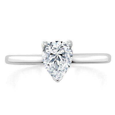 Pear Cut Moissanite Engagement Ring, Classic Style