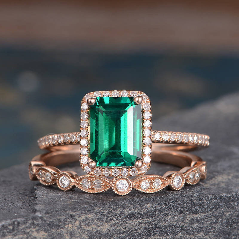 Lab Emerald & Moissanite Bridal Ring Set