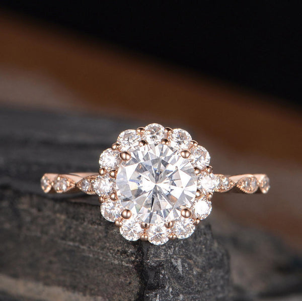 Round Cut Moissanite, Vintage Halo Design
