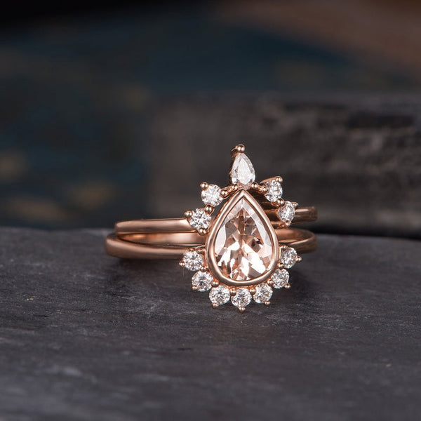 Pear Cut Morganite x3 Ring Set