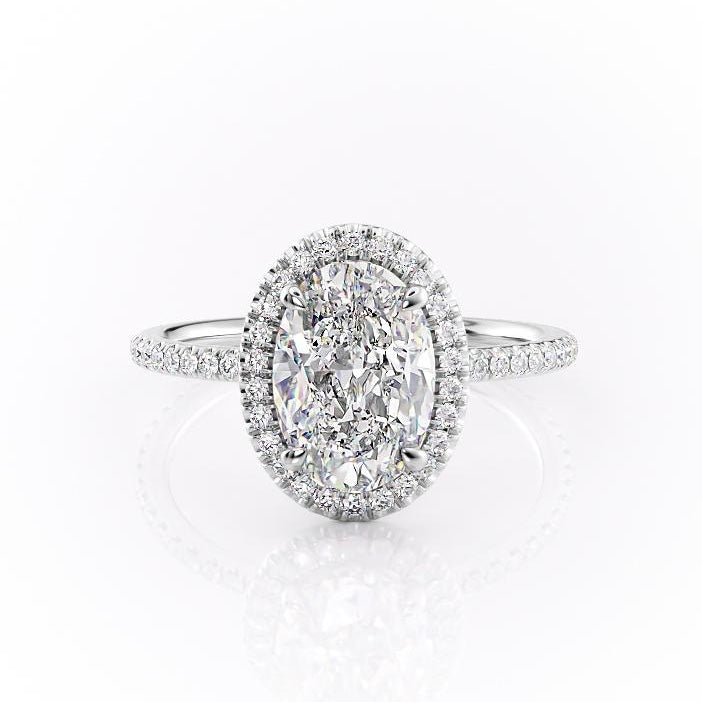 Oval Cut Moissanite Engagement Ring, Classic Halo
