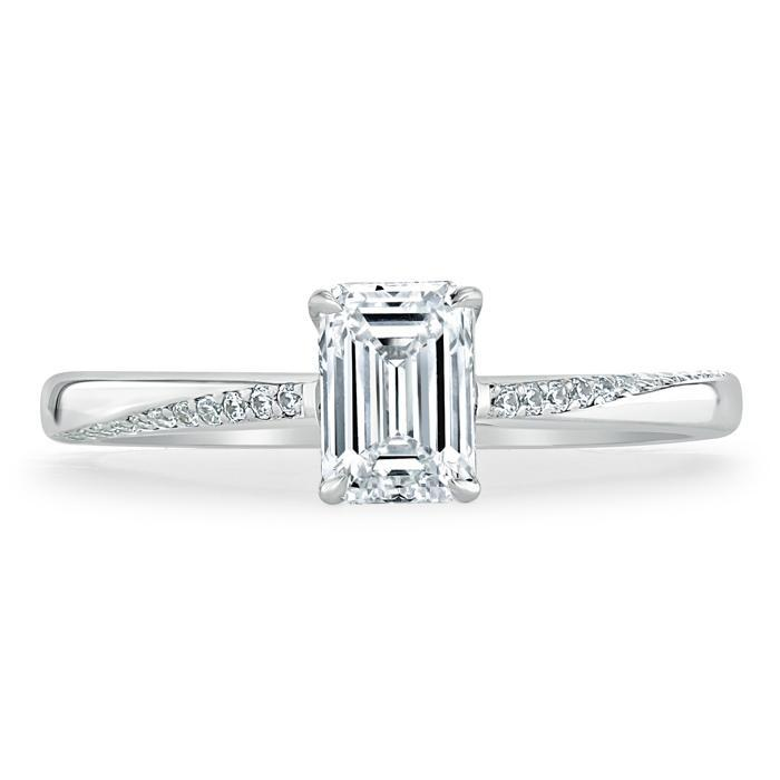 Emerald Cut Moissanite Engagement Ring, Classic Style