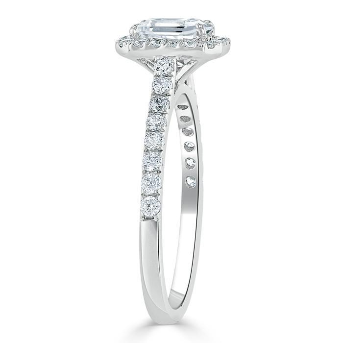 Emerald Cut Moissanite Engagement Ring, Classic Halo