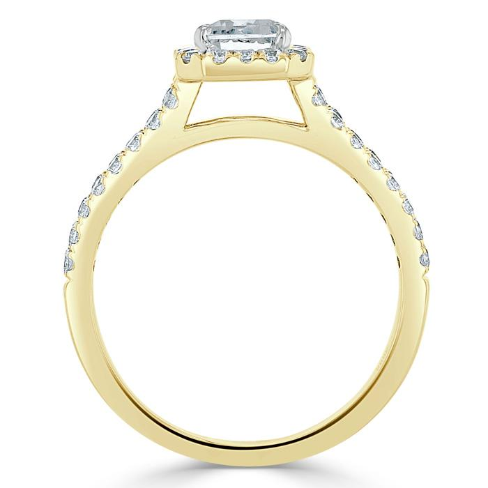 Emerald Cut Moissanite Engagement Ring, Classic Halo with Split Shank