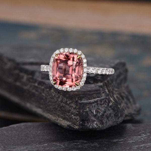 Cushion Cut Red Tourmaline, Classic Halo