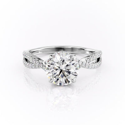 Round Cut Moissanite Engagement Ring, Twisted Stone Set Shoulders
