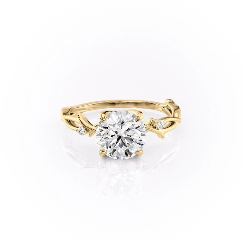 Round Cut Moissanite Engagement Ring, Twig Design