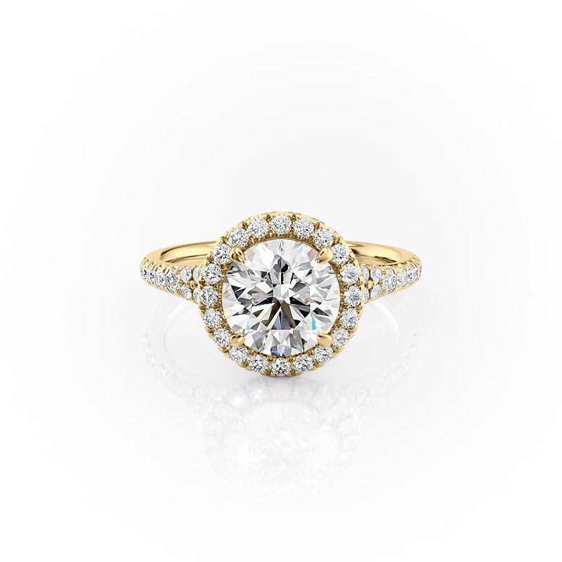 Round Cut Moissanite Engagement Ring, Halo With Split Shank