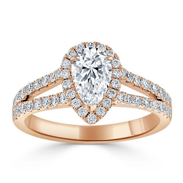 Pear Cut Moissanite Engagement Ring, Classic Halo with Split Shank