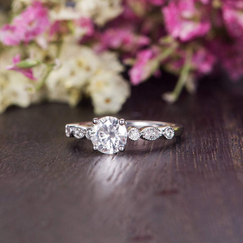 Round Cut Moissanite Engagement Ring, Vintage Design