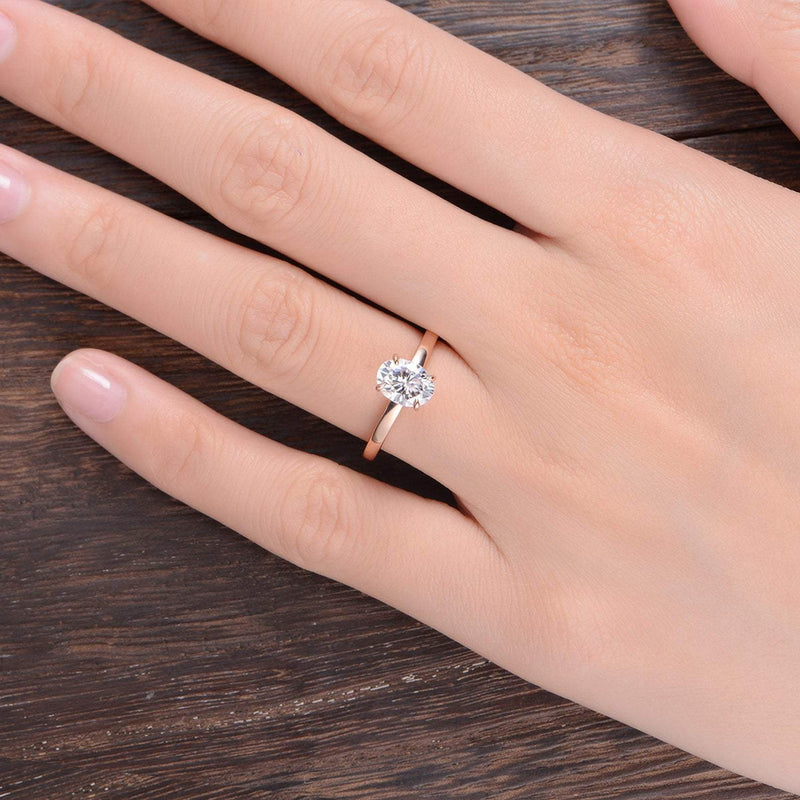 Oval Cut Moissanite Engagement Ring, Classic Design