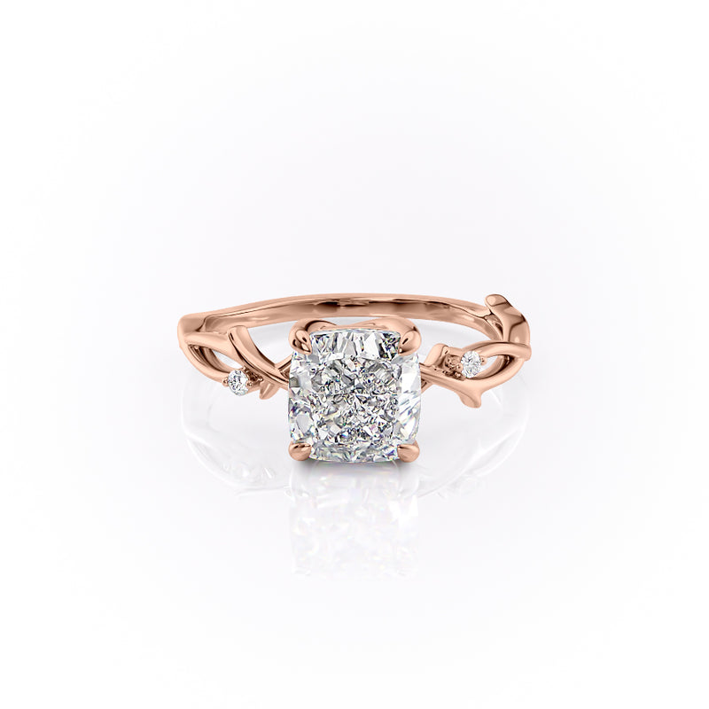 Cushion Cut Moissanite Engagement Ring, Twig Design