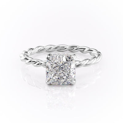 Cushion Cut Moissanite Ring, Twisted Band With Hidden Halo